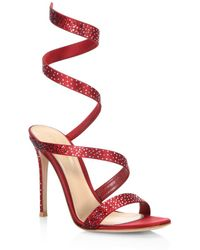 Gianvito Rossi - Opera Crystal & Satin Ankle-wrap Birthday Sandals - Lyst