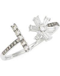 KC Designs - Diamond 14k White Gold Baguette Flower Ring - Lyst