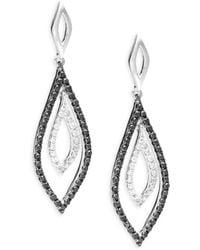 Effy - ??lack Diamond, Diamond And 14k White Gold Drop Earrings, 0.61 Tcw - Lyst