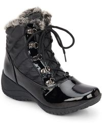 Khombu - Leslie Quilted Faux Fur-trimmed Boots - Lyst
