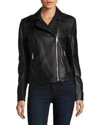 Karl Lagerfeld - Zippered Leather Motorcycle Jacket - Lyst