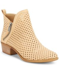 Lucky Brand - Basonta Perforated Leather Booties - Lyst