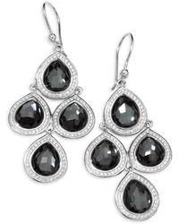 Ippolita - Diamond, Hematite And Sterling Silver Doublet Drop Earrings - Lyst