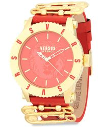 Versus - Stainless Steel And Leather Strap Watch - Lyst