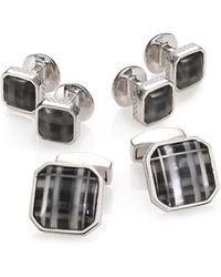 Tateossian - Fog Black Glass Rhodium Plated Cuff Link & Stud Set - Lyst