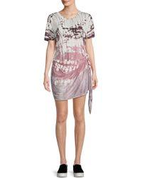 Young Fabulous & Broke - Printed Self-tie Mini Dress - Lyst