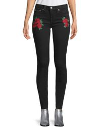 True Religion - Embroidered Super Skinny Jeans - Lyst