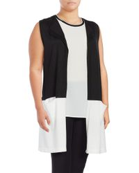 Vince Camuto - Plus Colorblocked Sleeveless Duster Vest - Lyst
