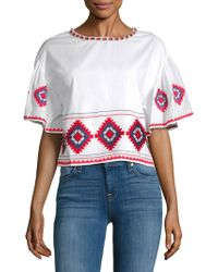Tularosa - Sienna Embroidered Ruffle-sleeve Tee - Lyst
