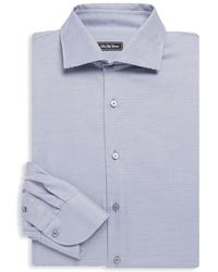 Saks Fifth Avenue Black - Spread-collar Plaid Cotton Dress Shirt - Lyst