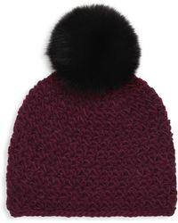 Surell - Fox Fur Pom-pom Hat - Lyst