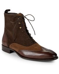 Mezlan - Brogue Leather Boots - Lyst