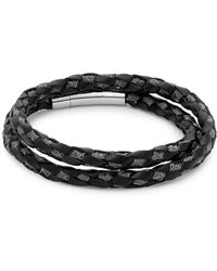 Tateossian - Sterling Silver And Leather Braided Bracelet - Lyst
