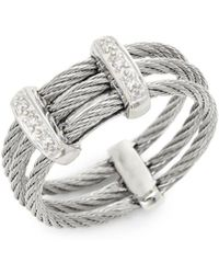 Alor - 18k White Gold, Stainless Steel & Diamond Cable Ring - Lyst