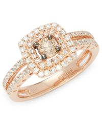 Effy   Diamond & 14k Rose Gold Square Solitaire Ring   Lyst