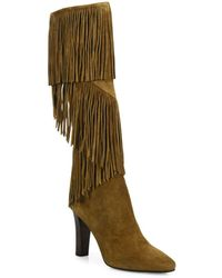 Saint Laurent - Lily Fringed Suede Boots - Lyst