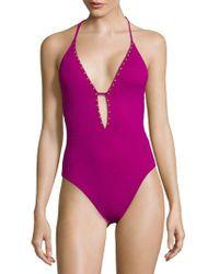 La Blanca - One-piece Studded Swimsuit - Lyst