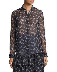 The Kooples - Floral Chiffon Shirt - Lyst