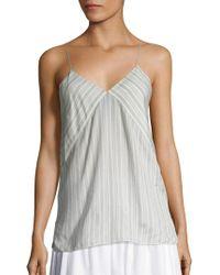 Vince Striped Silk Camisole - White