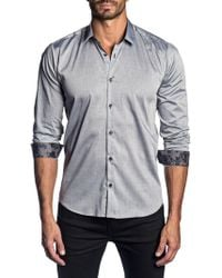 Jared Lang - Men's Semi-fitted Solid Long-sleeve Button-down Shirt With Contrast Cuffs - Lyst