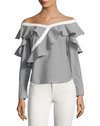 Laundry by Shelli Segal - Ruffled Off-the-shoulder Striped Top - Lyst