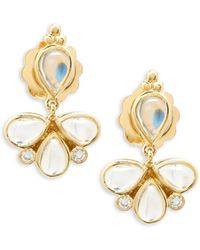 Temple St. Clair - Crystal And 18k Yellow Gold Dangle And Drop Earrings - Lyst