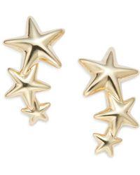 Saks Fifth Avenue - 14k Yellow Gold Triple Star Climber Earrings - Lyst