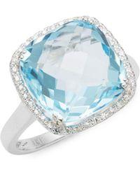 Effy - 14k White Gold, Diamond & Blue Topaz Solitaire Ring - Lyst