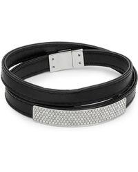 Swarovski - Pavé Crystal & Leather Bracelet - Lyst