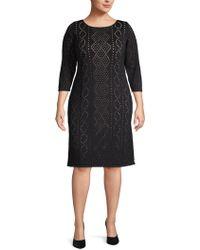 Calvin Klein - Plus Perforated Knee-length Dress - Lyst