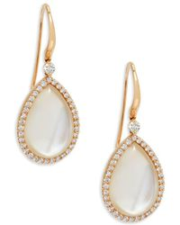 Roberto Coin - Rose Gold, Diamond And Mother-of-pearl Teardrop Earrings - Lyst
