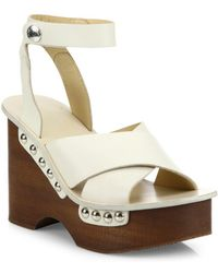 Rag & Bone - Hester Leather Ankle-strap Wedge Clog Sandals - Lyst