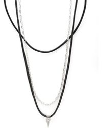 Perepaix - Leather And Chain Pendant Necklace - Lyst