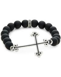 King Baby Studio - Onxy Bead Cross Bracelet - Lyst