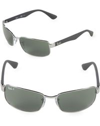 Ray-Ban - 60mm Polarized Rectangle Sunglasses - Lyst