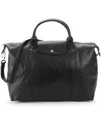 Longchamp - Large Le Pliage Cuir Leather Top Handle Bag - Lyst