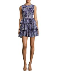 Cynthia Rowley - Ruffled Paisley Fit & Flare Dress - Lyst