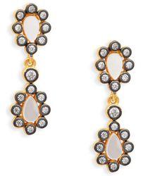 Freida Rothman - Sterling Silver, Mother-of-pearl & Crystal Drop Earrings - Lyst