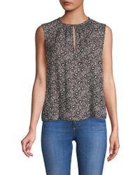 Rebecca Taylor - Briar Printed Sleeveless Silk Top - Lyst