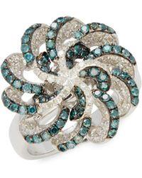 Effy - Blue Diamond & White Gold Ring - Lyst