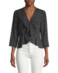 19 Cooper - Three-quarter Sleeve Self-tie Top - Lyst