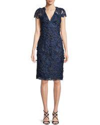 Carmen Marc Valvo - Sequin Lace Texture Dress - Lyst