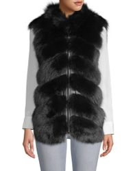 Belle Fare - V-neck Sheep, Fox Fur & Leather Vest - Lyst
