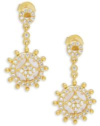 Freida Rothman - Rose Quartz & Gold Slice Wheel Drop Earrings - Lyst