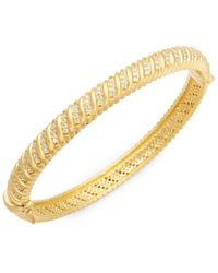 Freida Rothman - Gilded Cable Sterling Silver & Crystal Twisted Bangle Bracelet - Lyst