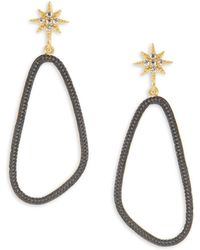 Freida Rothman - Classic Cubic Zirconia & 14k Gold-plated Sterling Silver Textured Drop Earrings - Lyst