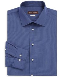 Hickey Freeman - Mini Check Classic-fit Cotton Casual Button Down Shirt - Lyst