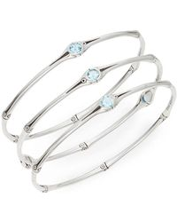 John Hardy - Bamboo Swiss Blue Topaz & Sterling Silver Bangle Set - Lyst