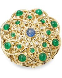 Temple St. Clair - Diamond, Emerald, Ruby, Sapphire And 18k Yellow Gold Mosaic Ring - Lyst
