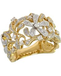 Effy - D Oro Two Tone 14 Kt Gold Diamond Flower Ring - Lyst